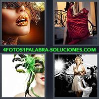 Mujer con labios pintados, Mujer con vestido rojo, Mujer con antifaz, Mujer con fotógrafos