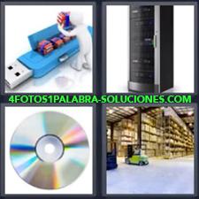 4 Fotos 1 Palabra - Almacén Armario para servidores Cd Dibujo muñeco y pendrive |
