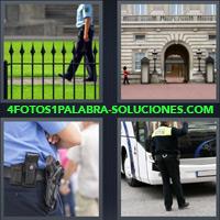 Hombre Policía caminando, Palacio real Soldados custodiando, Policía cruzado de brazos, Policía dirigiendo el tránsito |