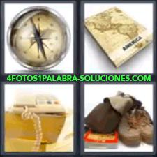 4 Fotos 1 Palabra - 4 Letras: Brujula Mapa, Brújula, Mapa, Teléfono, Botas. |
