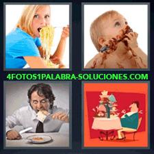 4 Fotos 1 Palabra - 4 Letras: Espaguetis, Niño Comiendo Chocolate, Hombre Comiendo Con Cara De Loco, Dibujo De Señor Con La Mesa Llena De Comida. |