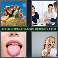 4 Fotos 1 Palabra - Grupo de niños con pulgar levantado |