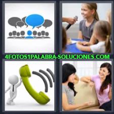 4 fotos 1 Palabra - 6 letras: amigas charlando en un sofa dibujo de personas hablando niñas hablando por micrófono Telefono verde |