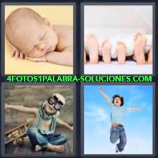 4 Fotos 1 Palabra - 4 Letras: Niño Saltando, Bebe Dormido, Pies De Toda La Familia, Niño Jugando A Aviador |