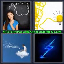 4 Fotos 1 Palabra - 4 Letras: Rayo, Mujer Pensando Pizarra, Foco O Bombilla Amarilla, Hombre Encima De Nube Con Computadora |
