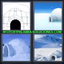 4 Fotos 1 Palabra - 4 Letras: Casa De Hielo, 1 Dibujo Y 3 Fotos De Iglús. |