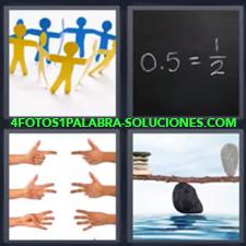 4 Fotos 1 Palabra - Manos Balanza Figuras Personas Operaciones En Pizarra |