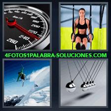 4 Fotos 1 Palabra - cronometro Esquiador saltando Juego de bolas Mujer haciendo deporte |