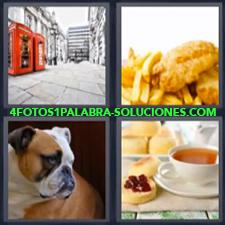 4 fotos 1 Palabra - 6 letras: Cabinas telefono rojas desayuno perro pollo y papas fritas te y tostada con mantequilla y mermelada |