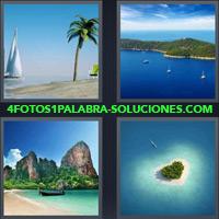 Playa con Palmera y Velero, Vista aerea de Isla, Playa con montañas de fondo |