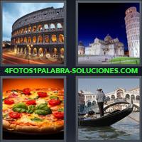 Colíseo Romano, Torre de Pisa, Pizza, Hombre sobre góndola, Venecia |