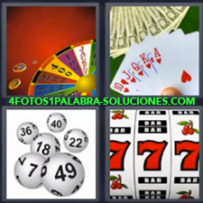 4 Fotos 1 Palabra - Máquina de juegos tragaperras Pelotas numeradas Persona jugando al póker Ruleta de la suerte |