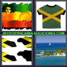 4 Fotos 1 Palabra - Camiseta verde con rayas amarillas Dibujo de cara con rastas colores verde amarillo y rojo Playa paradisiaca |