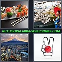 4 Fotos 1 Palabra - Plato de Sushi, Monte Fuji |