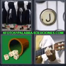 4 Fotos 1 Palabra - 4 Letras: Dados Guitarra, Señoras De Negro Y Blanco, Tecla Jota De Máquina De Escribir. |