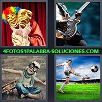 4 Fotos 1 Palabra - Jugador de fútbol pateando balón |