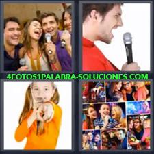 4 Fotos 1 Palabra - Chico con micrófono Fotos de personas celebrando Jóvenes cantando Niña cantando |