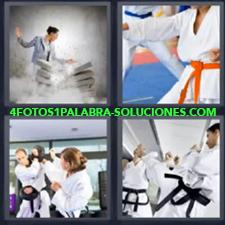 4 fotos 1 Palabra - 6 letras: artes marciales Cinturon naranja Lucha Mujer dando patada a bloques |