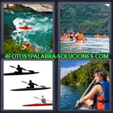 4 Fotos 1 Palabra - Piraguas Canoa Deportes Kayak Remar |