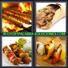 4 Fotos 1 Palabra - Comida Carne Carne Asada Pinchos |