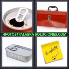 4 Fotos 1 Palabra - 4 Letras: Coca Cola, Bote De Bebida Abierto, Maletín Metálico, Lata De Conserva Cerrada, Nota Con Mensaje. |