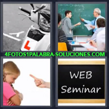 4 Fotos 1 Palabra - escuela moto Mano reprendiendo a niña Pizarra Web Seminar Profesor y alumno en la pizarra |