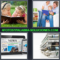 4 Fotos 1 Palabra - Niñas leyendo libro sobre el césped |