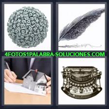 4 Fotos 1 Palabra - Pluma Bola De Letras Hombre Escribiendo Maquina De Escribir |