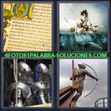 4 Fotos 1 Palabra - armadura arquero Escrito antiguo Estatua de arquero Guerreros con armaduras |