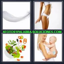 4 fotos 1 Palabra - 6 letras: pluma ensalada Mujer con bebe en brazos Mujer con ropa interior blanca |