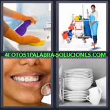 4 Fotos 1 Palabra - vajilla limpieza Dentadura o dientes Mujer con carro de la limpieza |