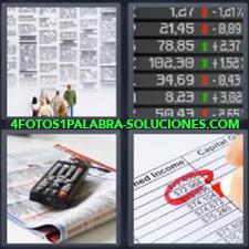 4 Fotos 1 Palabra - Datos numéricos de subidas y bajadas de precios Hoja con datos económicos Personas viendo anuncios clasificados Revista con mando a distancia |