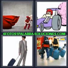 4 fotos 1 Palabra - 6 letras: aeropuerto caricaturas de auto dibujo animado de coche con paracaídas gente de viaje Maletas Papa Noel |