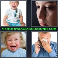 Bebé llorando, Mujer con una lágrima sobre su mejilla, Hombre llorando al teléfono con pañuelo |