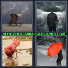 4 fotos 1 Palabra - 6 letras: paraguas nube Niño jugando con charco Paraguas rojo en tormenta |