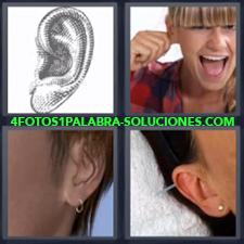 4 fotos 1 Palabra - 6 letras: orejas Oreja con aro o arete Oreja con pendiente Oreja dibujada |