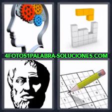 4 fotos 1 Palabra - 6 letras: cerebro con engranajes Sudoku Tabla Tetris |