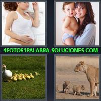 Mujer embarazada durmiendo, Mujer con un bebé en brazos, Mamá Pato con patitos, Mamá leona con sus cachorros |