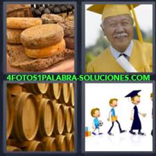 4 fotos 1 Palabra - 6 letras: barriles graduado Quesos Sr. mayor graduado |