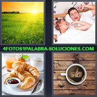 Sol sobre campo al amanecer, Pareja despertando en la cama, Medialunas o croissants, Taza Café