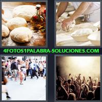 Pan sobre una mesa, cocinero amasando sobre una mesa, multitud de gente en un concierto, gente caminando en una ciudad |