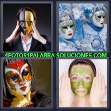4 Fotos 1 Palabra - disfraz mascarilla Careta Carnaval de Venecia Mujer con crema en la cara |