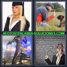 4 fotos 1 Palabra - 6 letras: graduada perro maestra Chica recién graduada Señor con perro |