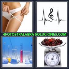 Mujer con cinta métrica o de medir, Clave de sol, Probetas de laboratorio, Balanza con cerezas