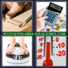 4 Fotos 1 Palabra - Calculadora Termometro Bascula O Peso Regla |