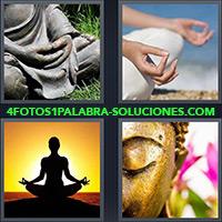 Estatua de Buda meditando, Persona meditando, Persona en trance o estado de meditación
