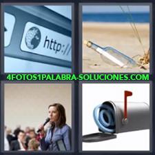 4 Fotos 1 Palabra - Botella en playa con nota dentro Buzón de correos Señorita dando un discurso Url en internet |