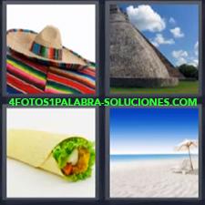 4 fotos 1 Palabra - 6 letras: Pirámide Playa poncho y sombrero taco |