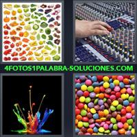 Confites, M&M, Skittles, Mesa de Mezcla, Mezcladora de Sonido, Pintura de colores, Frutas, Verduras |