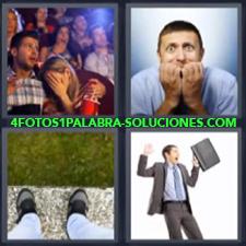 4 Fotos 1 Palabra - Cine De Pie Al Borde Hombre Asustado Con Maletin Hombre Con Manos En La Boca |